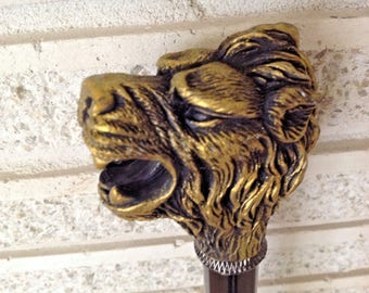 Cane Royal Lion Head Protector Of The Commonwealth LARP SCA Walking Stick