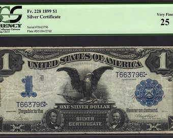 1899 One 1 Dollar Silver Certificate Black Eagle PCGS 25 Fr.228 Item #80134122