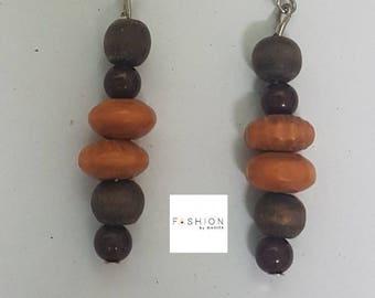 Handmade wooden beads drop earrings/Dangle earrings