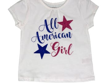 Girl  shirt , 4 July girl shirt, baby shirt, toddler shirt,  girl  independence shirt  girl shirt
