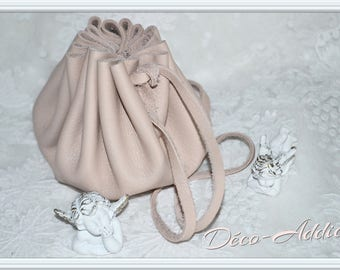 Medieval rose beige leather purse - large
