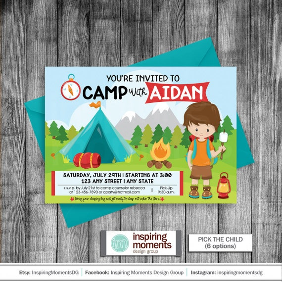 Camping Birthday Party Invitation Outdoors Overnight