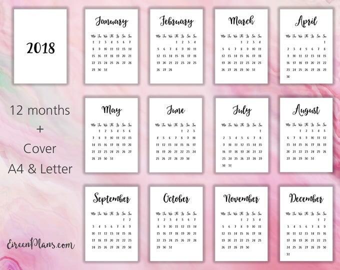 a4 85x11 printable 2018 calendar wall calendar modern calendar minimalist calendar