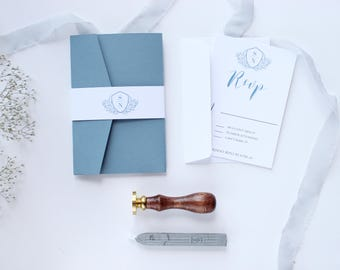 Dusty Blue Wedding Invitation, Pale Blue Wedding Invitation, Monogram Invitation, Pocket Wedding Invitation, Wedding Invitation Sample
