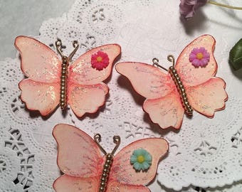 Poppin Peach Gold Glass Bodied Butterflies DarlingArtByValeri Set for Scrapbooking Embellishment Mini Albums Cards Wedding Gifts