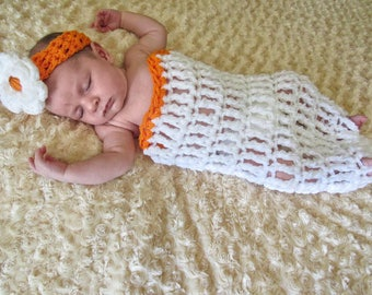 Basketball Cocoon Net Baby Photo Prop Hat or Headband 2-Piece Set Handmade Crocheted Ready to Ship Made in the USA