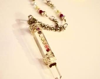 CRYSTAL Chakra Pendant  with CZECH glass Necklace
