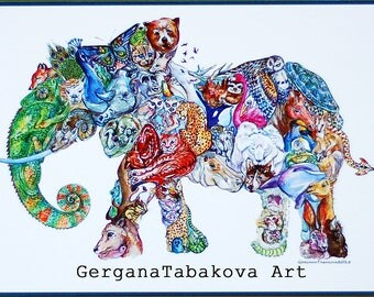 Elephant Art PRINT animals Children Wall hanging colorful original watercolor ink mosaic of all animals together planet Boho style sloth