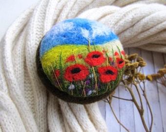 Unique gift idea Felt flower  Needle felted poppy brooch Rustic brooch for mom Romantic gifts Woolen art For teacher Best sisters gift