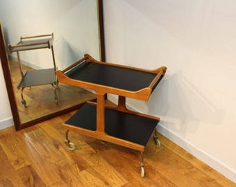 Quirky 1960's British teak and laminate tea or drinks trolley