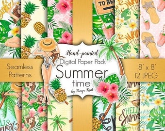 SALE Summer Patterns, Summer Digital Paper, Hawaii  Paper Pack, Aloha Digital Paper, Pineapple Paper, Beach Paper, Tropical Paper Pack, Palm