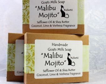 "Goats Milk Soap - ""Malibu Mojito"" with Shea Butter & Coconut, Lime and Verbena"