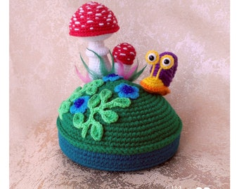 Pincushion Glade. Pincushion snail. Pincushion  Mushrooms. Sewing accessories. Crochet Pincushion