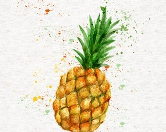 Pineapple Fabric | Upholstery | Sewing | Craft | Printed Fabric Panels - | 8x8 inch, 12x12 inch