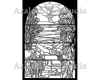 Window Insert, Stained Glass Patterns, Pattern Designs, Pattern Pdf, Garden SVG,  Coloring Pages, Pattern Svg, Pattern Print, Garden