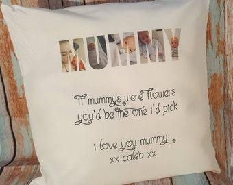 Personalised photo word cushion mummy, mum, Nanny, nan, nana, grandad, granddad, gramps, auntie, uncle, sister, brother, daughter, son