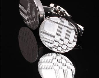 BURBERRY Cufflinks in White Gold Plated