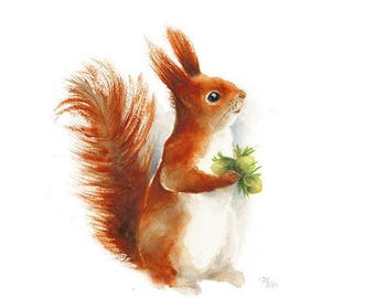 SALE Squirrel watercolor - print of watercolor painting. Nursery Art Animal Illustration. Red, Orange.