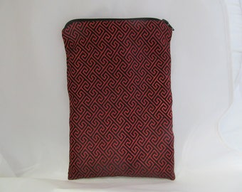 Brocade Tarot Card Bag Black and Red with Satin Lining and Zipper Dice Makeup Pouch Fancy