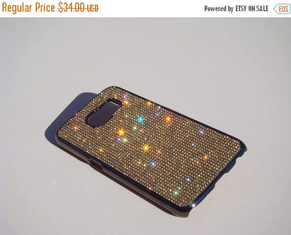 Sale Galaxy S6 Gold Topaz Rhinestone Crystals on Space Black/Brown Chrome Case. Velvet/Silk Pouch Bag Included, Genuine Rangsee Crystal Case