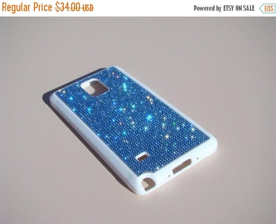 Sale Galaxy Note 4 Blue Sapphire Rhinestone Crystals on White Rubber Case. Velvet/Silk Pouch Bag Included, Genuine Rangsee Crystal Cases.