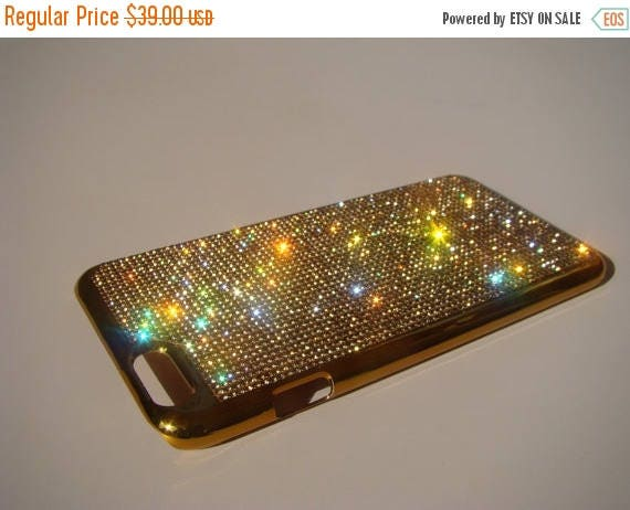 Sale iPhone 6 Plus / 6s Plus Gold Topaz Rhinestone Crystals on Gold-Bronze Chrome Case. Velvet Pouch Included, Genuine Rangsee Crystal Cases