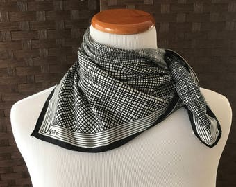 Vintage Vera Scarf, Vintage Fashion Accessories, Black And White Vera Scarf, Polyester Vera Scarf, Vintage Accessories, Women's Scarves