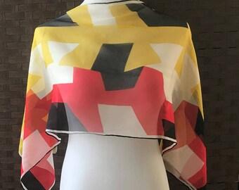 Vera Long Scarf, Vintage Vera Neumann Scarf, Sheer Vera Scarf, Designer Scarf, Vera Accessories, Vintage Designer Scarf, Vintage Scarves
