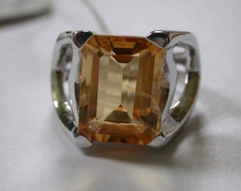 Sterling Silver Citrine Ring, Citrine Solitaire Ring, November Birthstone Ring