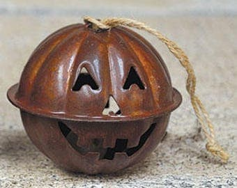 Pumpkin Jingle Bell, Halloween Bell, Halloween Decor, Primitive Halloween, Primitive Fall, Pumpkin Ornament, Pumpkin Decor, Free Shipping