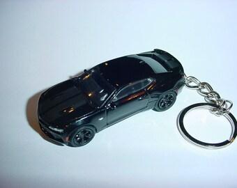 3D Chevrolet Camaro SS custom keychain by Brian Thornton keyring key chain finished in black color trim metal body street racer
