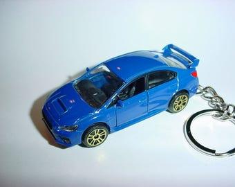 3D Subaru WRX STI custom keychain by Brian Thornton keyring key chain finished in blue color trim diecast metal body