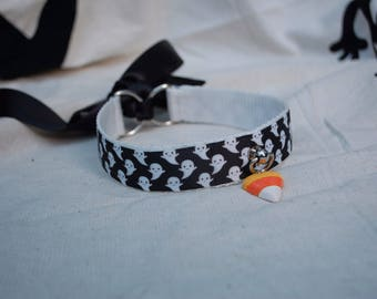 Ghosts and candy corn Halloween Collar