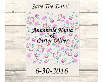Field of Hearts Wedding Save The Date Cards Customizable - Printable Digital Download
