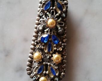 Vintage Theif of Bagdad Korda Dress Clip Blue Stones Faux Pearls Ornate Frame