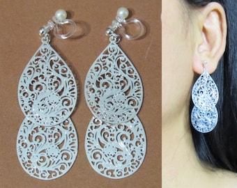 Filigree Leaf Clip On Earrings |33D| Art Nouveau Motif Silver Clip On Earrings Long Teardrop Dangle Clip Earrings Bridal Wedding Clip-ons