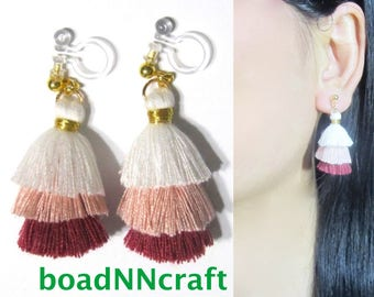 Invisible Clip-ons, Mini Tiered Colorblock Pink White Red Tassel Clip on Earrings |39D| Non Pierced Fringe festive Dangle Long clip Earrings