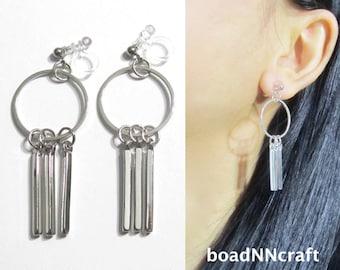 Boho Bar Circle Hoop Clip On Earrings |41F| Dangle Silver Modern Geometric Clip On Earrings,Long Invisible Clip-ons Non Pierced Earrings