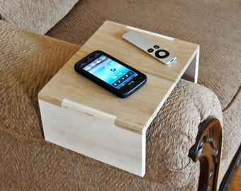 Couch Arm Tray, Couch Table; Reclaimed Pallet Wood; Great For Remote Control, Phone, Coffee Cup, Book; Naked Finish