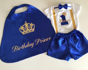 First Birthday Outfit Boy, Blue 1st Birthday Outfit, Blue Cake Smash Outfit, Royal Blue and Gold, 1st Birthday Prince Outfit, Baby Prince