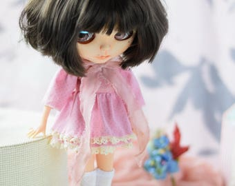 Blythe outfit. Dress with pink denim top.