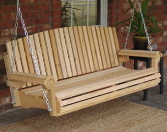 Brand New 6 Foot Cedar Wood Fan Back Porch Swing with Hanging Chain or Rope - Free Shipping