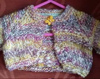 Hand knitted cardigan in home spun wool,  to fit a baby girl aged 3-6 months old