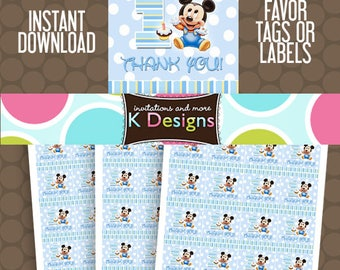 Baby Mickey 1st First Birthday Favor Tags or Labels Stickers Printable Uprint Digital DIY Instant Download