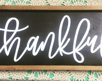 Thankful framed wood sign / 10x26 / black and white /