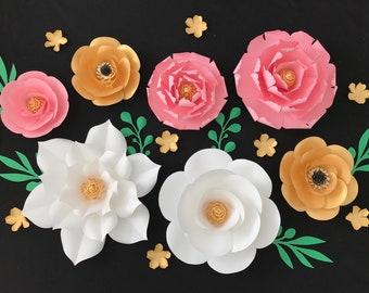 Paper Flowers Wall Decor, Paper Flower Nursery Decor, Paper Flower Backdrop, Baby Shower Flower Wall, Pink Gold Paper Flower Wall