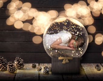 LIMITED TIME SALE Christmas Snow Globe Digital Backdrop/Background/Template/Overlays For Photoshop, Photoshop Elements, etc.