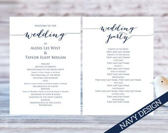 Wedding Program Templates Ceremony Template DIY Printable