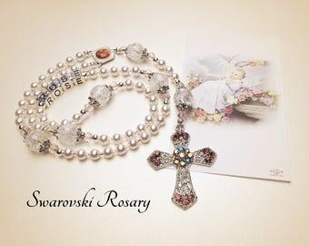 Personalized Baptism Rosary. Swarovski Pearls. White Rosary. Catholic Rosary. Catholic Gift. Christening Rosary. Baby Rosary. #R173