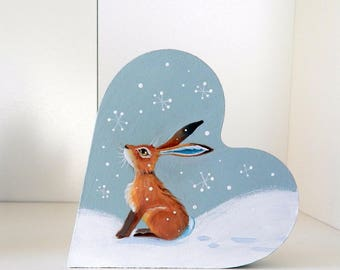 Winter Hare - self standing chunky heart